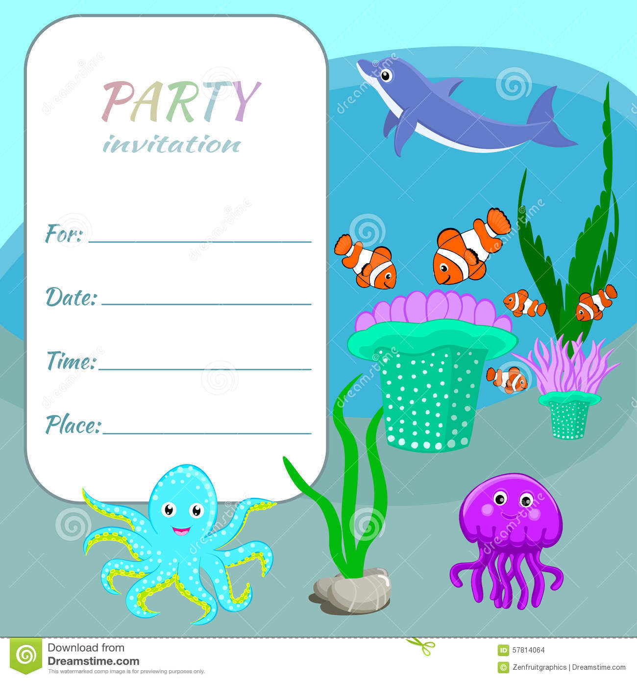 Children Party Invitation Card Template Colorful Sea Animals Fishes And Plants