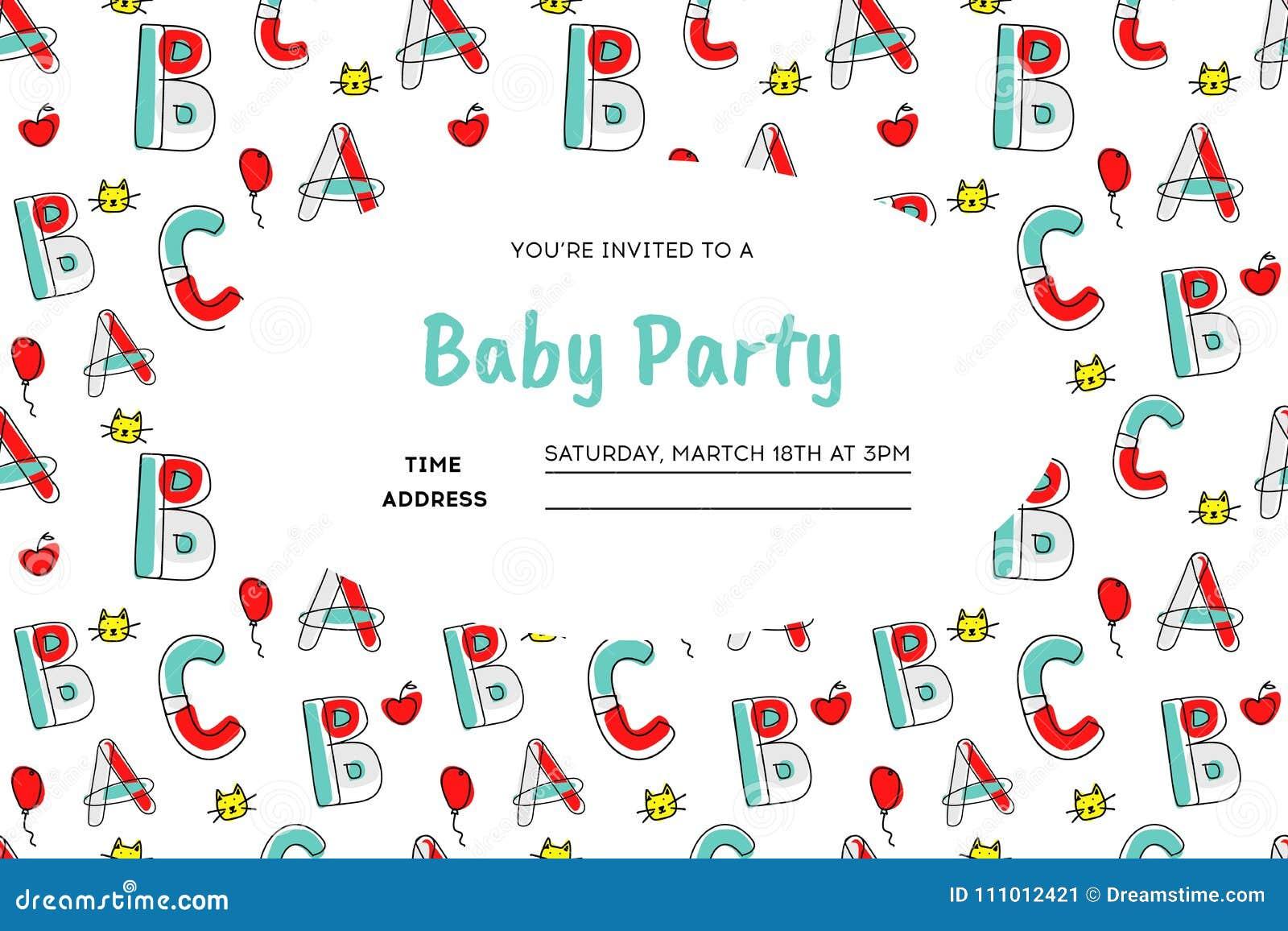 Children Party Invitation Stock Vector Illustration Of Balloon