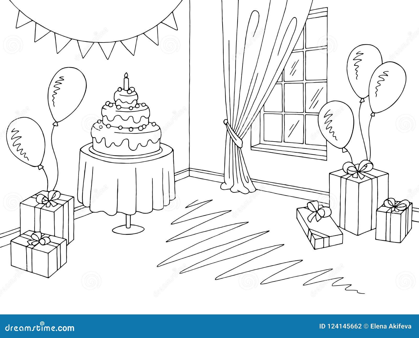 Children Party Room Graphic Black White Home Interior Sketch