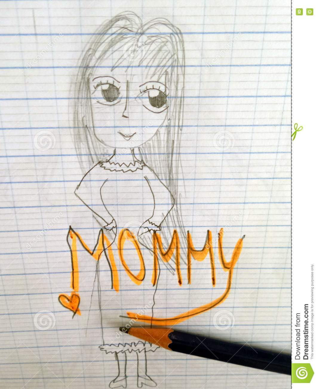 Children simple pencil drawing their belove mother