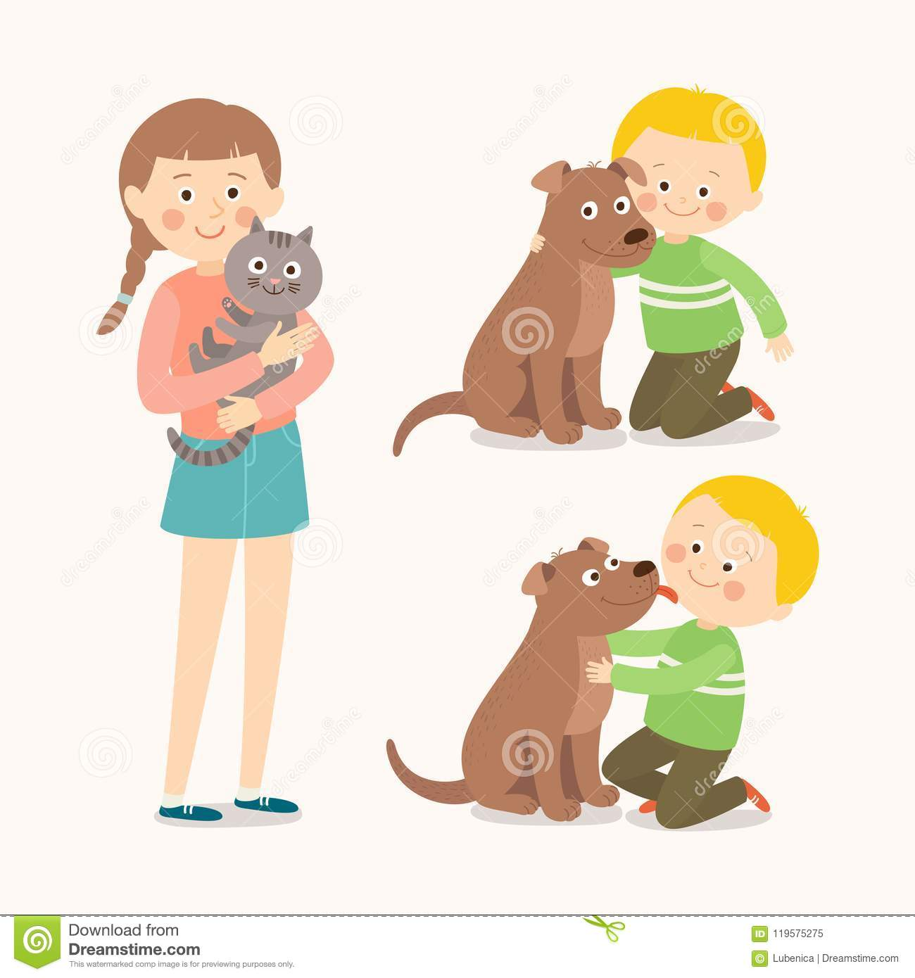 Children and pets. Child lovingly embraces his pet dog. Little dog licking boy`s cheek. Teenage girl with her cat. Best