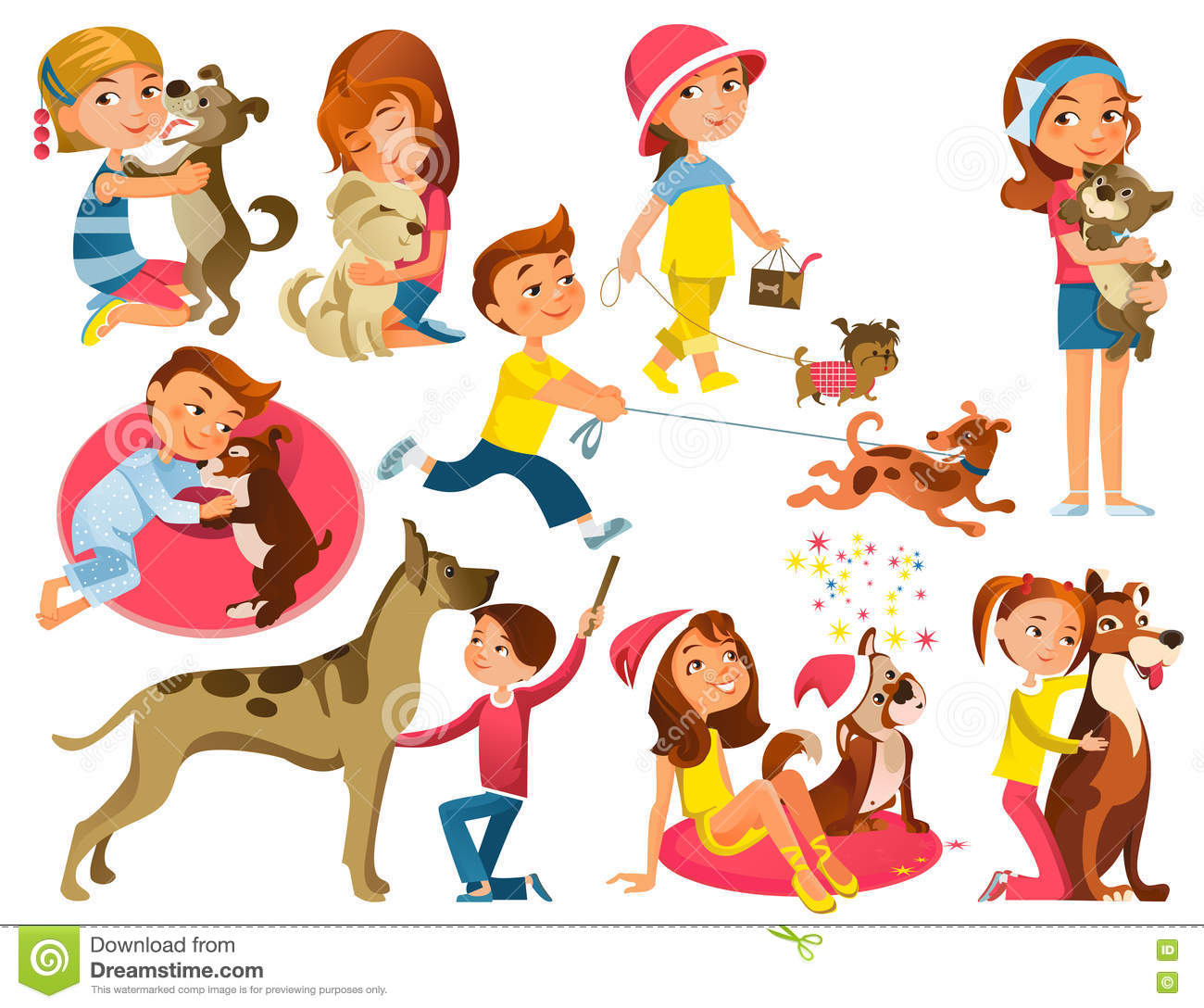 Children With Pets Set Stock Vector Image 79635460