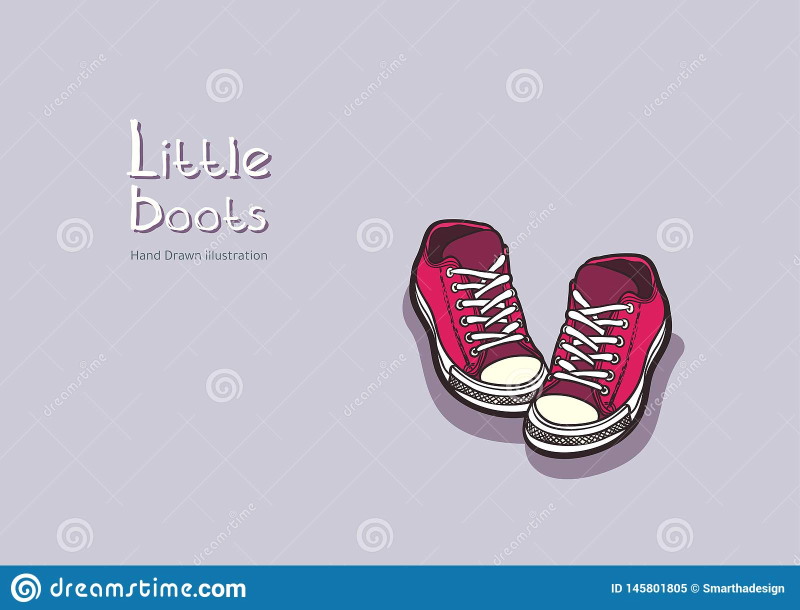 Children pink boots vector in hand drawn graphic for logo, poster, postcard, fashion booklet, flyer. Hand drawn illustration.