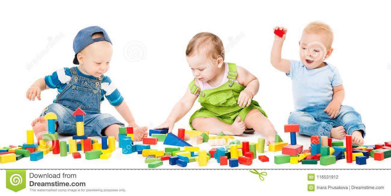 Children Play Blocks Toys, Kids Group Playing Colorful Bricks