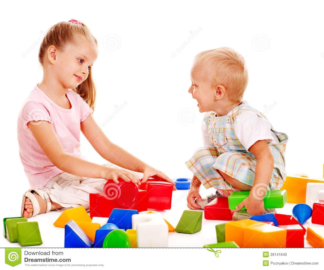 Children Play Building Blocks. Stock Photo - Image: 26141640