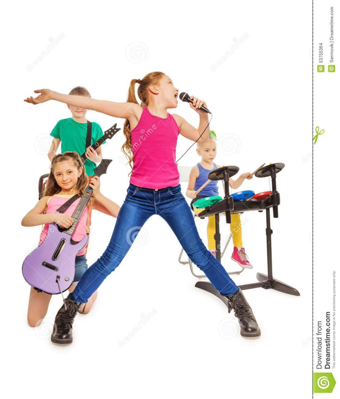 Worksheet Musical Instruments To Play children play musical instruments and girl sings stock photo sings