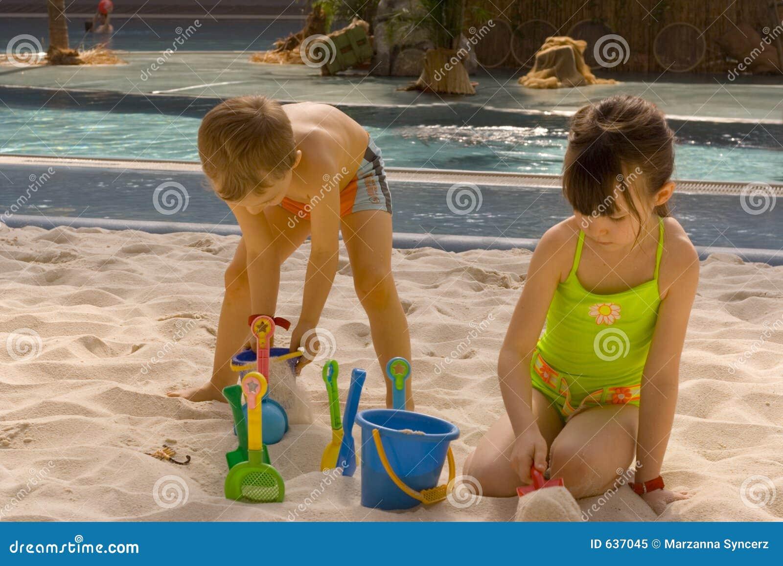 children play in sand stock image image of boys child. Black Bedroom Furniture Sets. Home Design Ideas