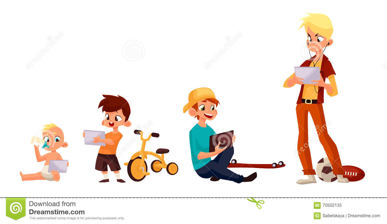children play in the smartphone or tablet stock vector