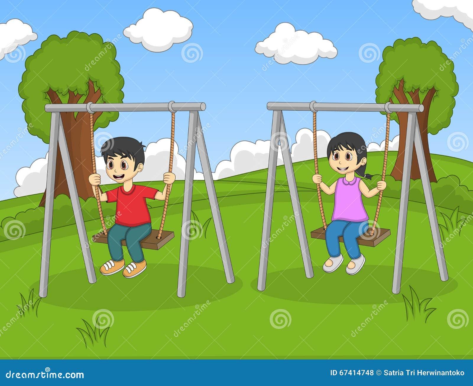 children play swing in the park cartoon stock vector - illustration