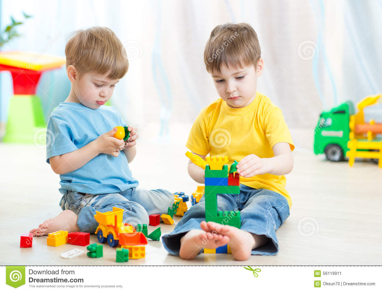 Play Toys Com : Children play with toys vector illustration