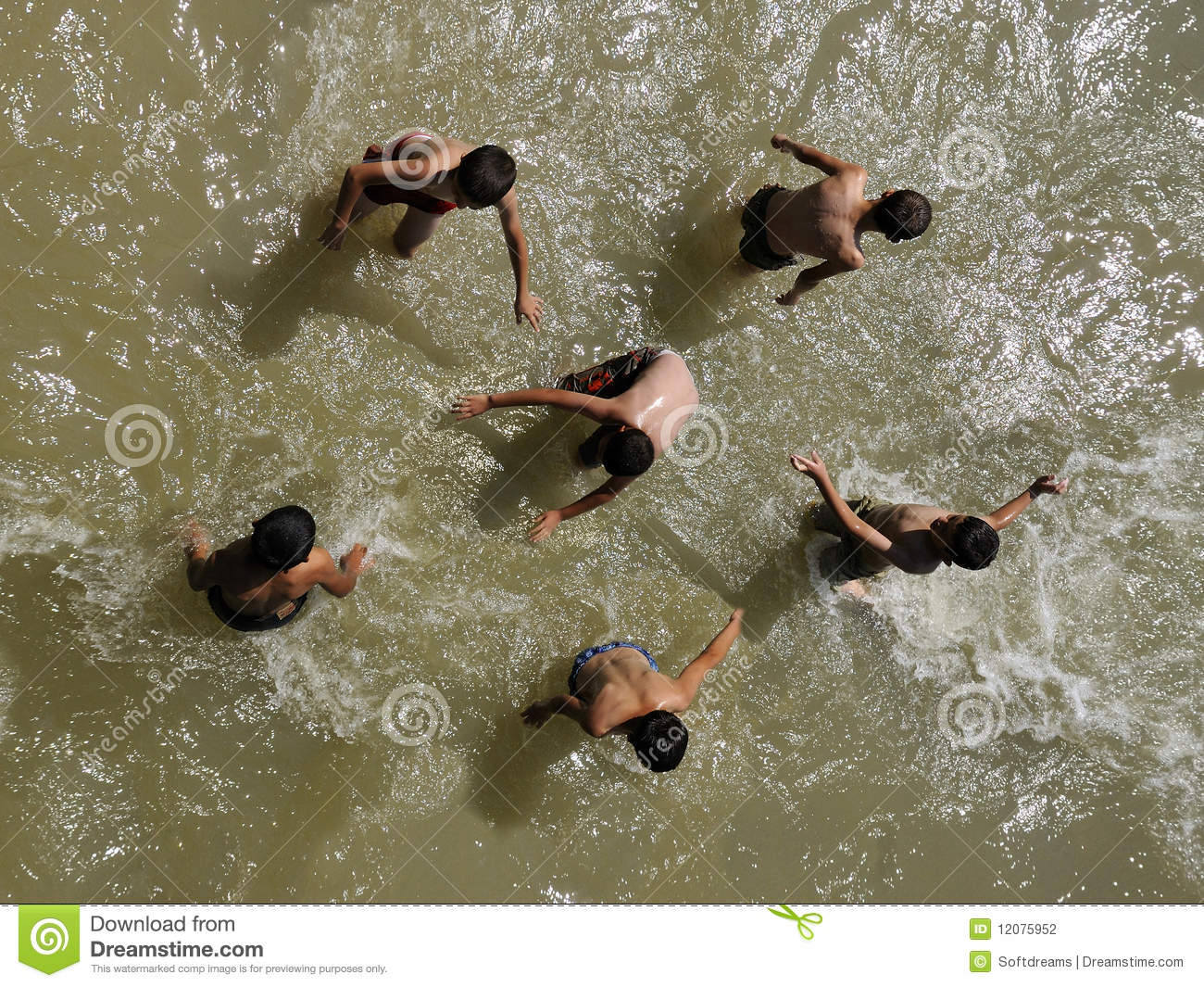 Children Play In Water Editorial Photography Image 12075952
