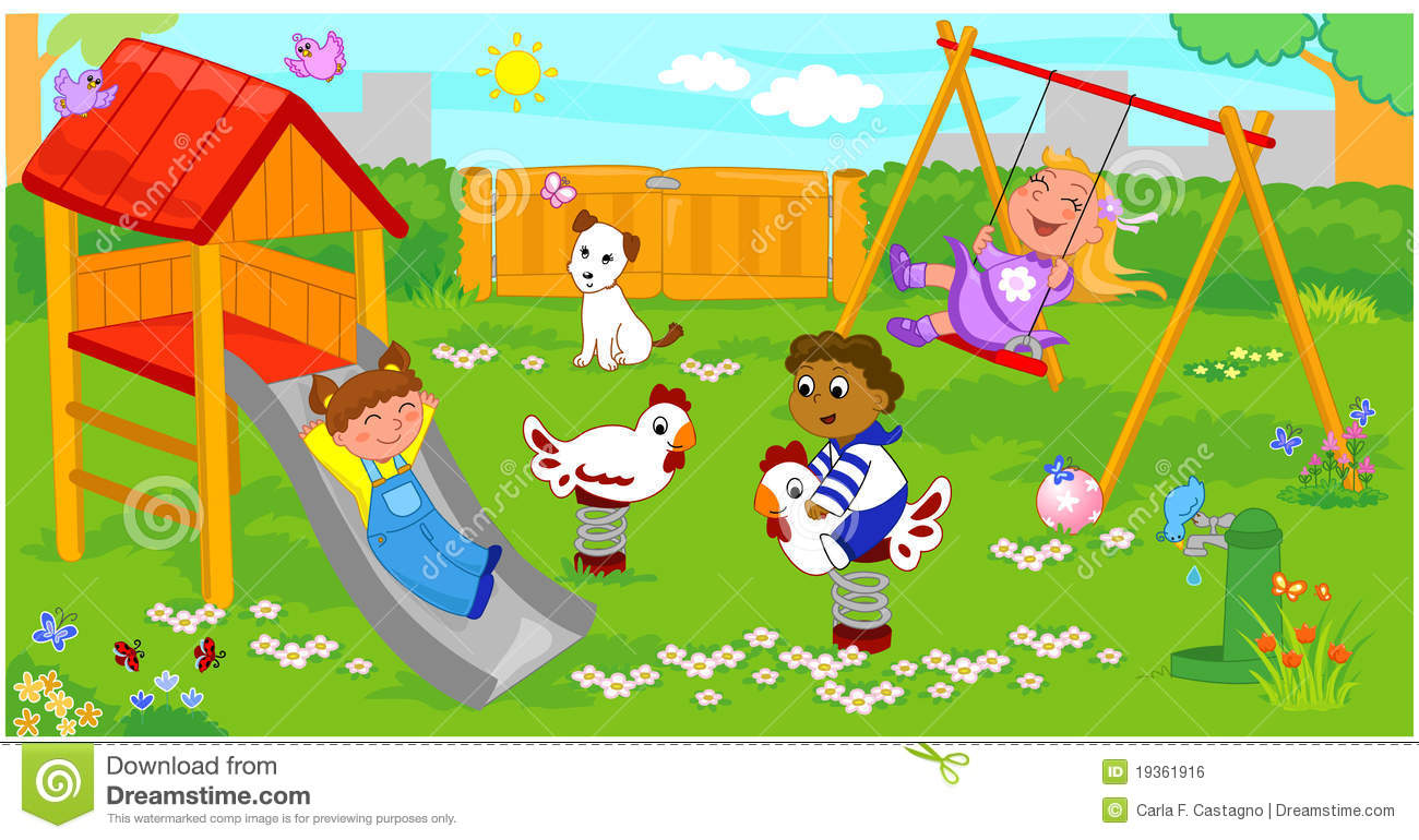Children At The Playground Stock Vector Image Of Summer