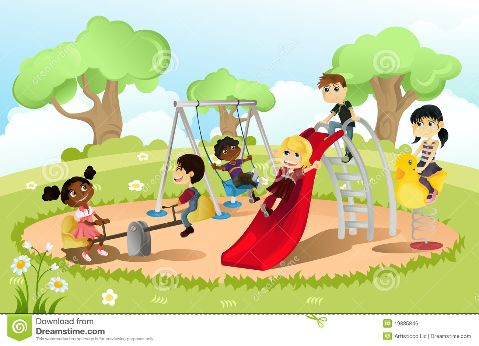 Children in playground stock vector. Illustration of ...