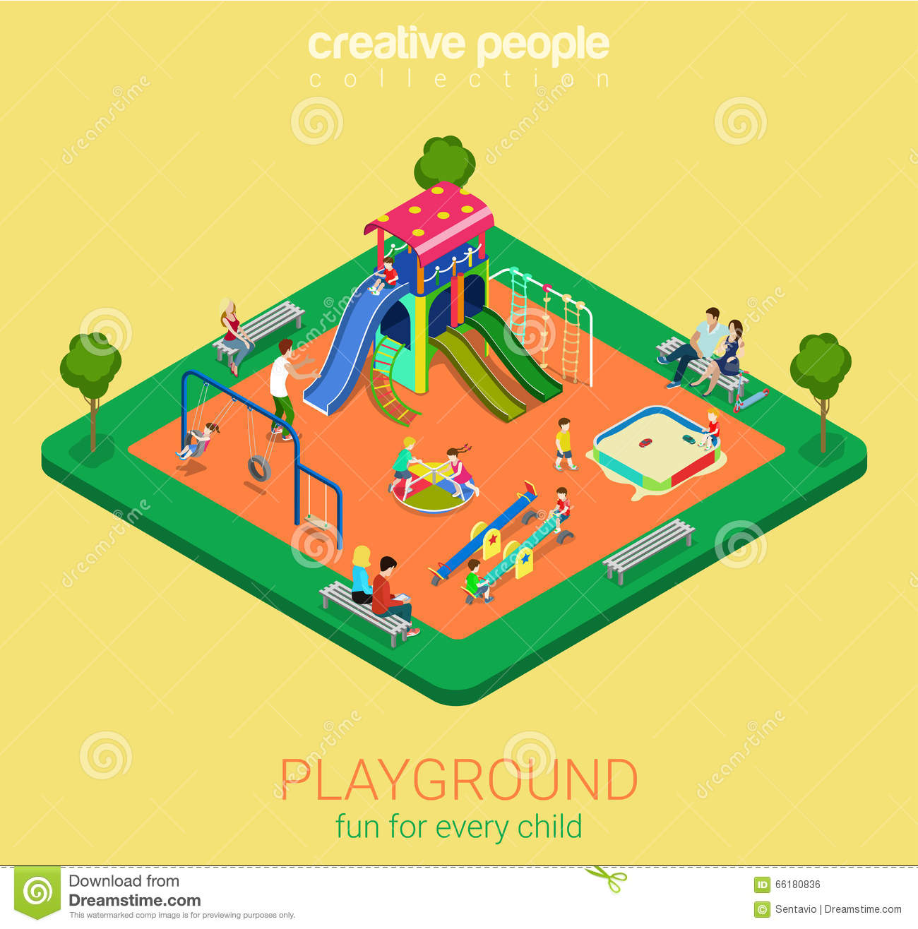 Children Playground Flat Vector 3d Isometric Sandpit Swing ...