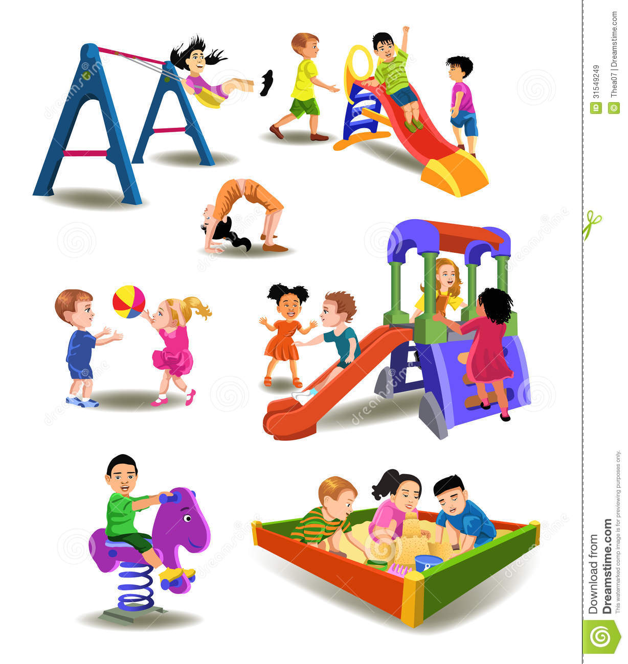 Children at the playground stock vector. Illustration of ...