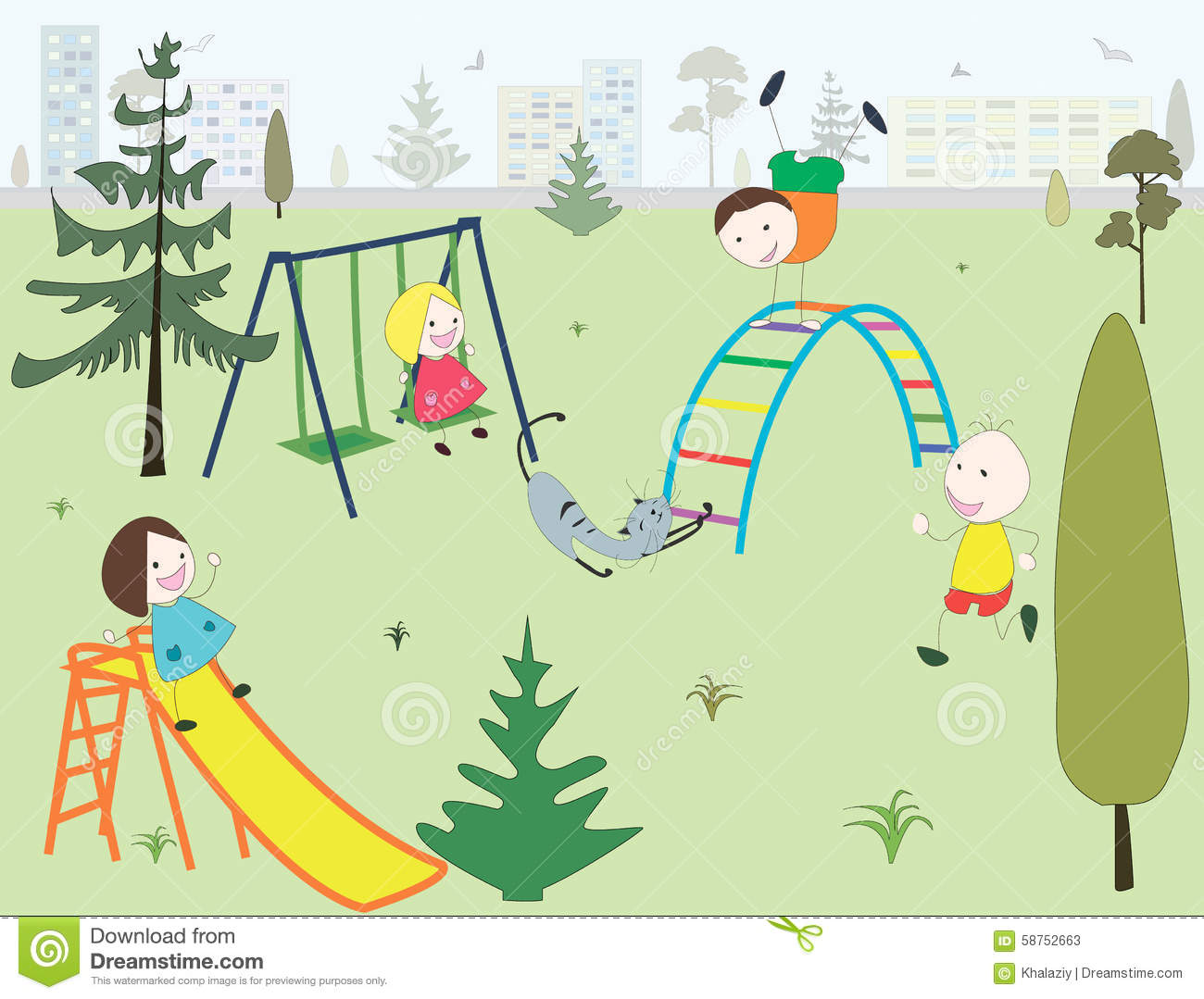 Children In A Playground In A Park In A City Stock Vector