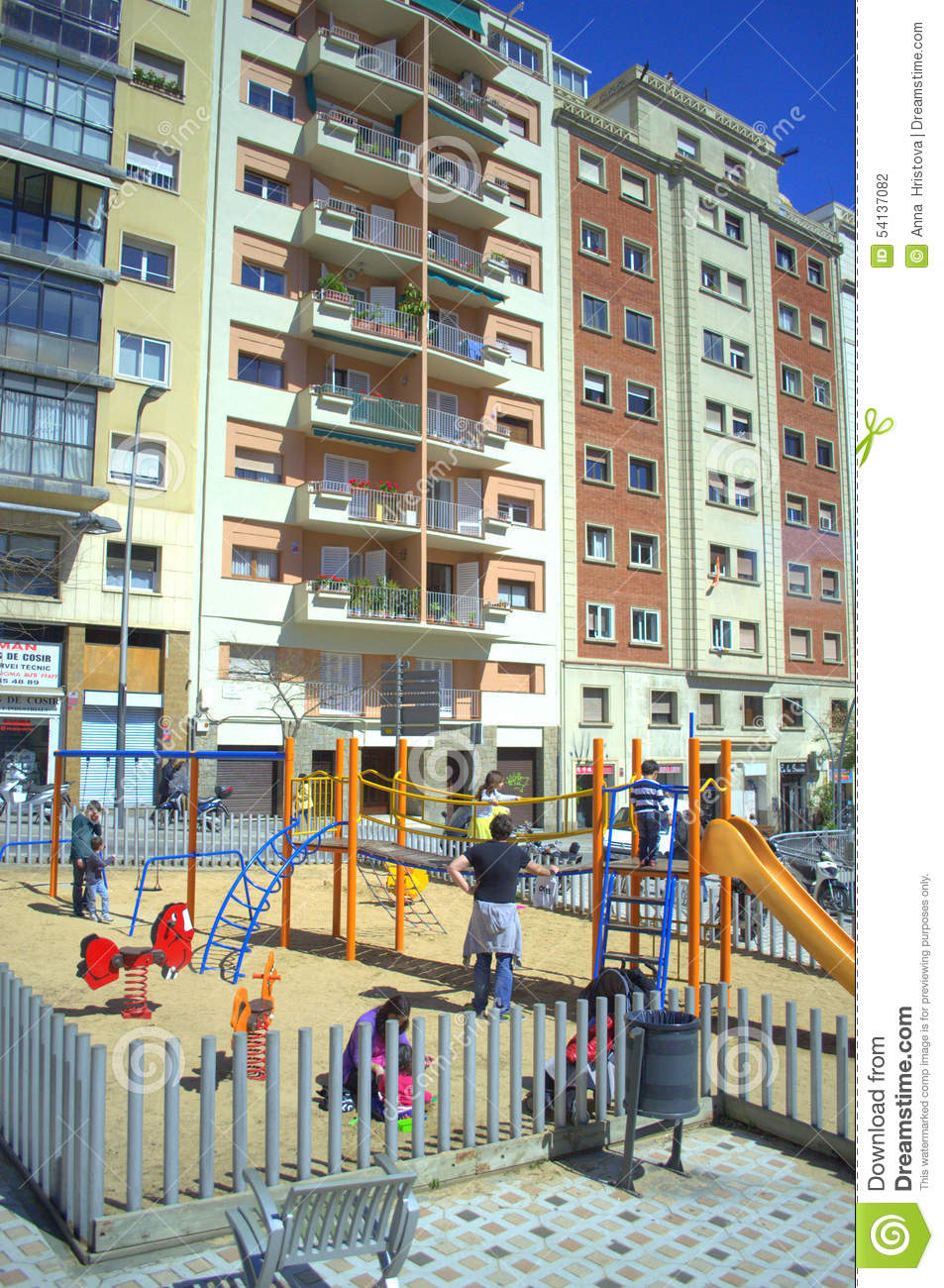 Apartment building children playground barcelona editorial for Builders in my area