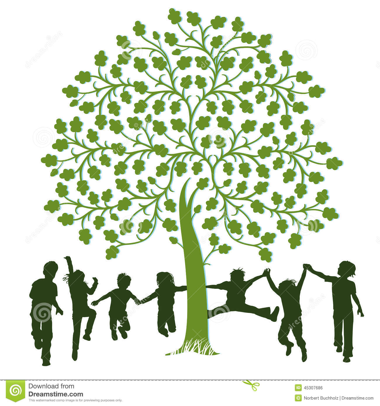 Children playing around a tree stock vector image 45307686 for Around the tree