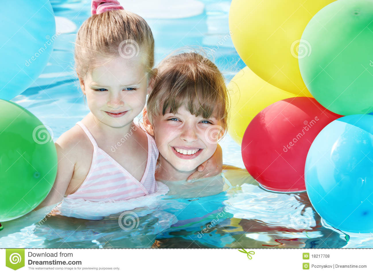 Children Playing With Balloons In Swimming Pool. Royalty ...