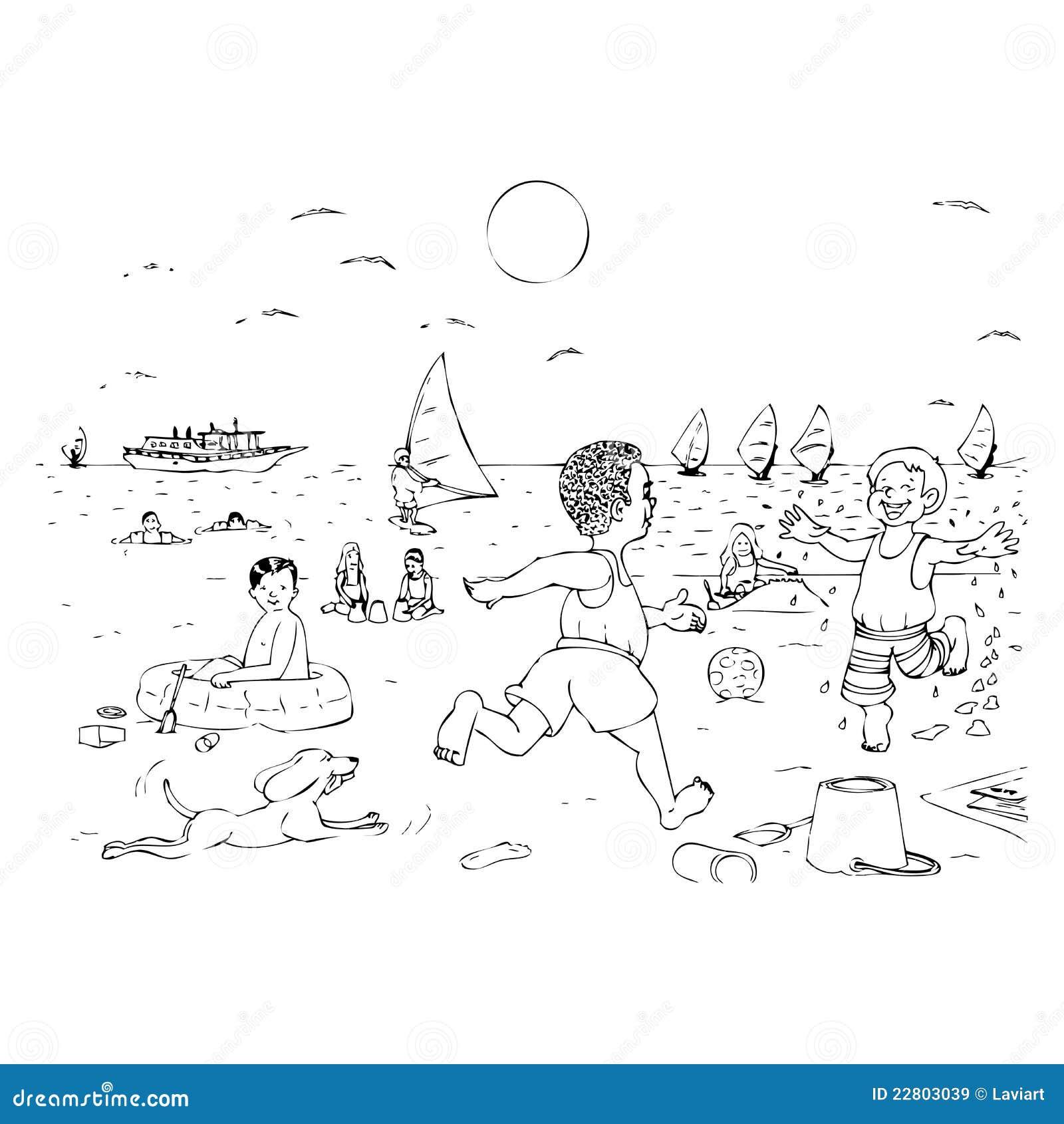 children playing on the beach stock illustration - illustration of