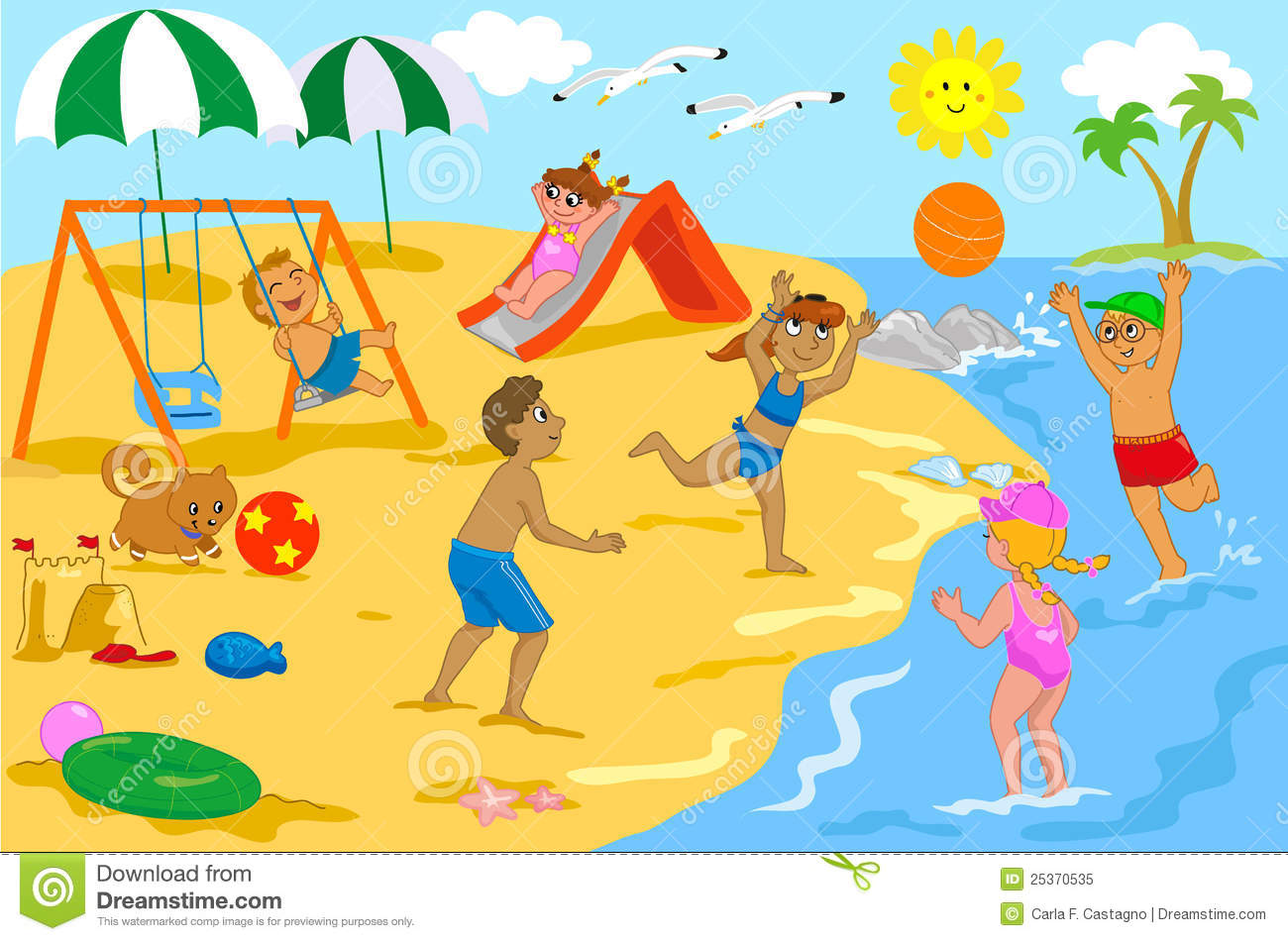 Group of kids happily together at the seaside  Some are playing with a    Kids Playing On The Beach Clipart