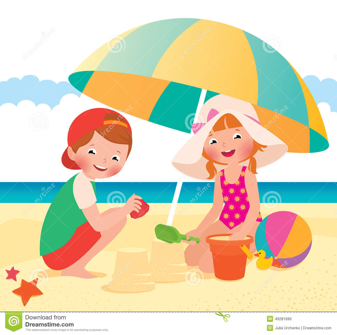 Children Playing On The Beach Stock Vector - Illustration ...