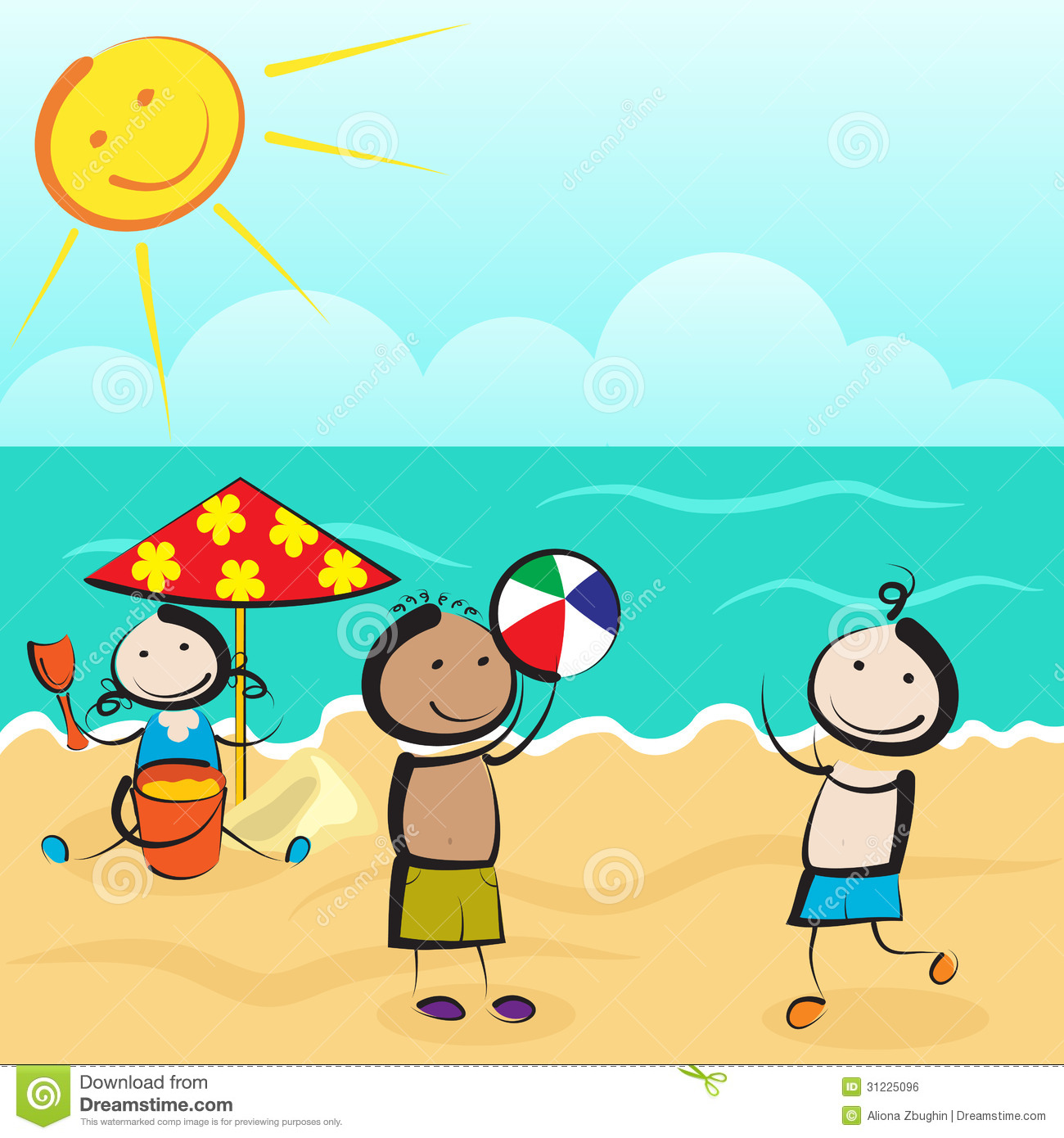 Three kids playing with ball and sand on beach Kids Playing On The Beach Clipart