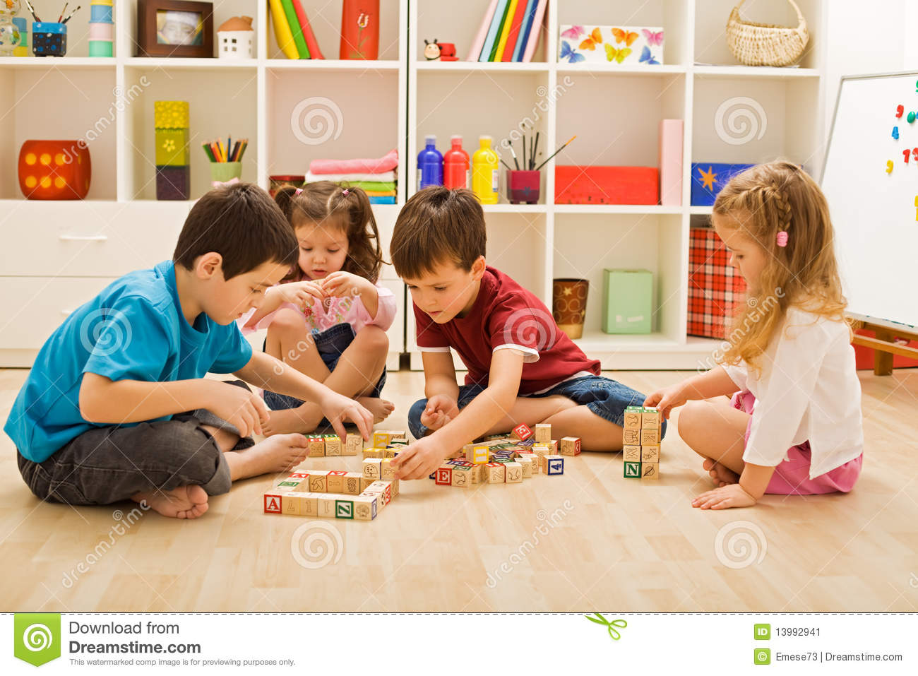 Children Playing With Blocks Stock Image - Image: 13992941