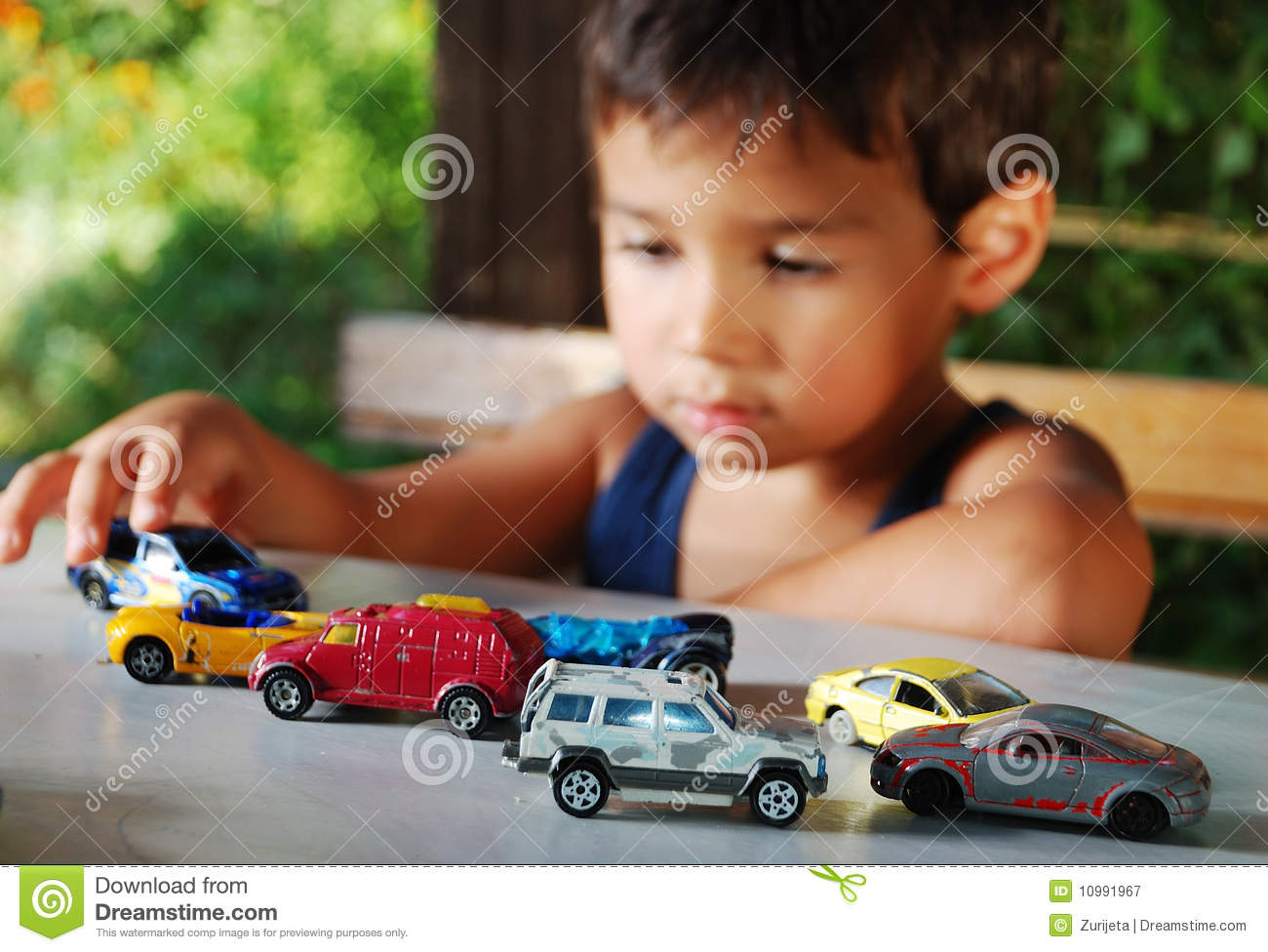 Children Playing With Cars Toys Outdoor Royalty Free Stock