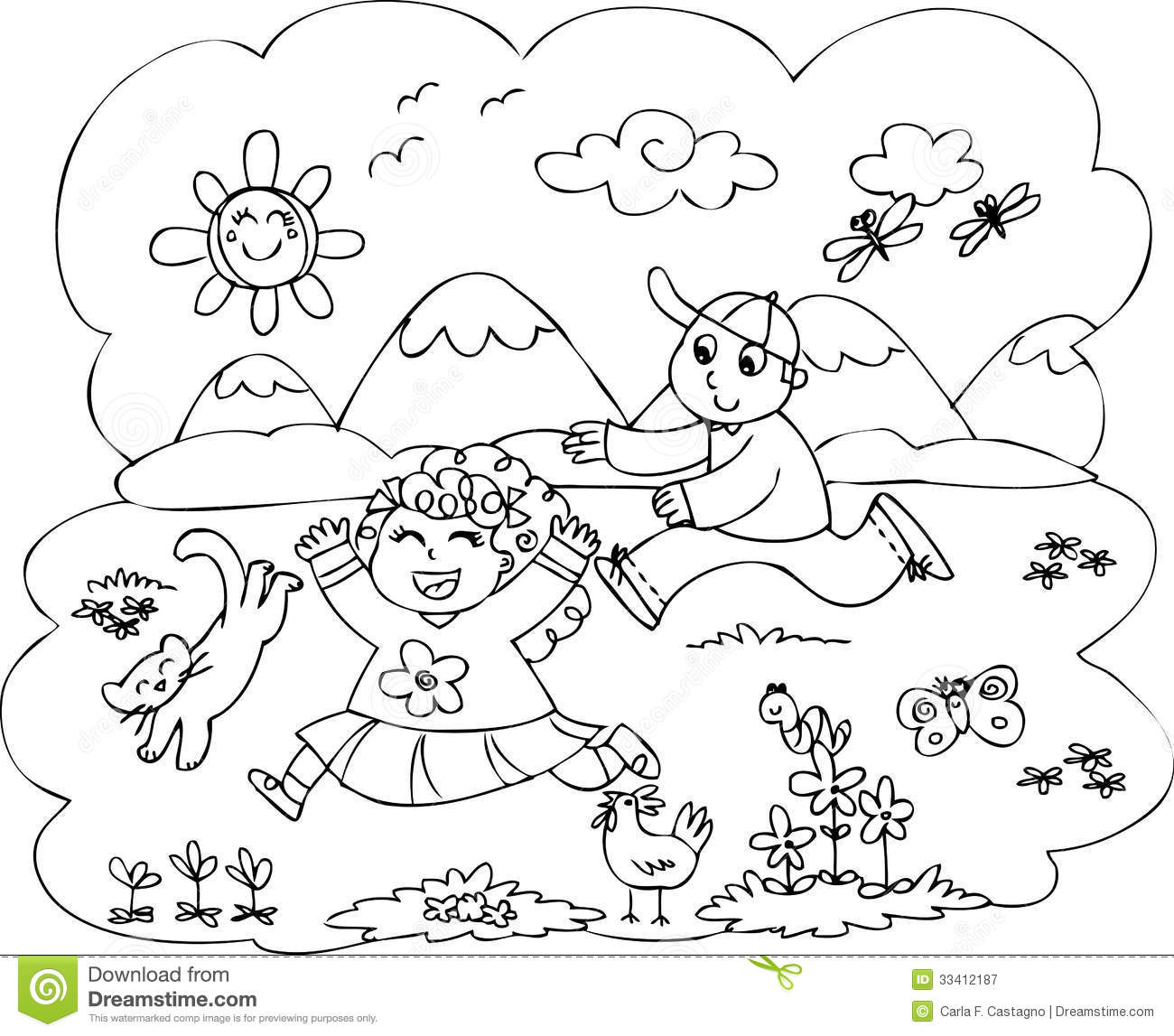 Children Playing In Countryside Vector Royalty Free Stock