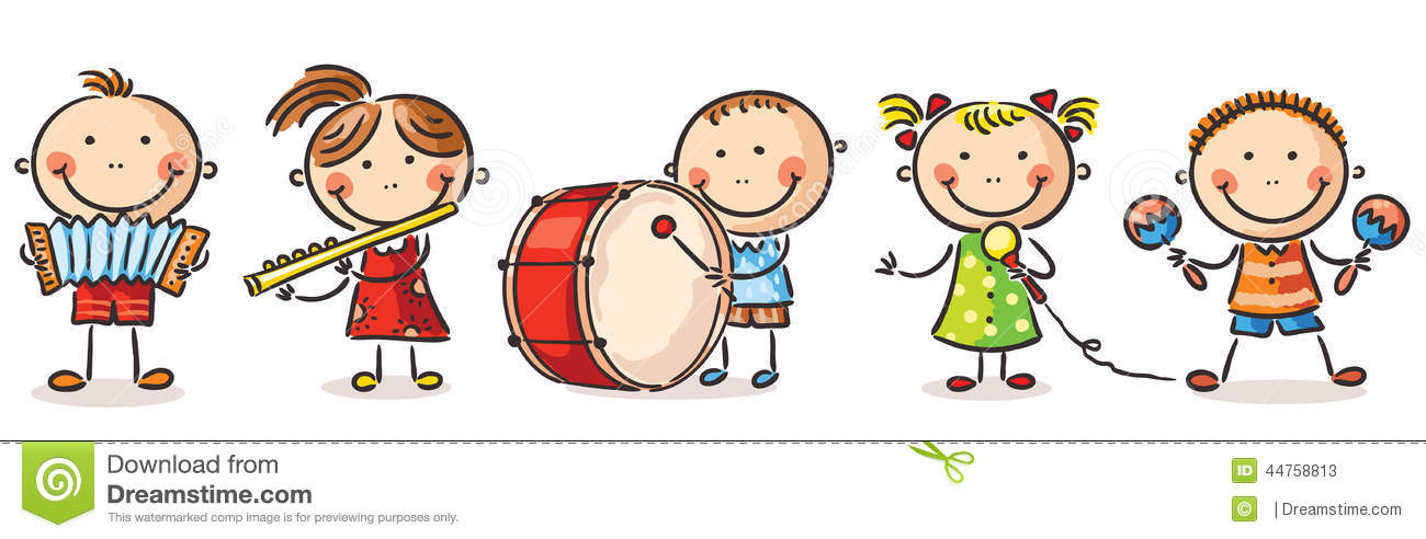 Children playing different musical instruments stock vector image