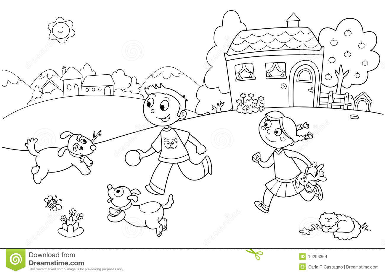 ... girl running with two dogs and other animals. Coloring illustration