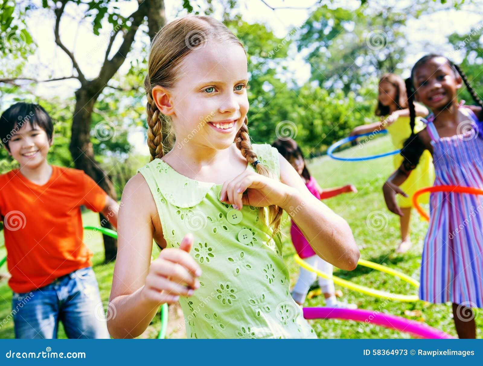 Children Playing Excercising Joyful Happiness Concept