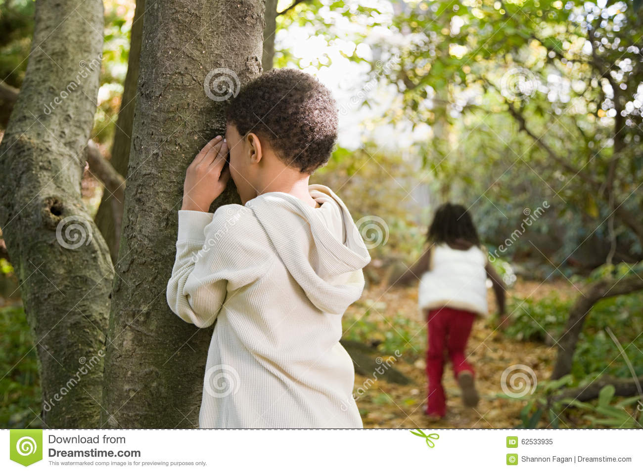 children playing hide and seek stock image image of eyes