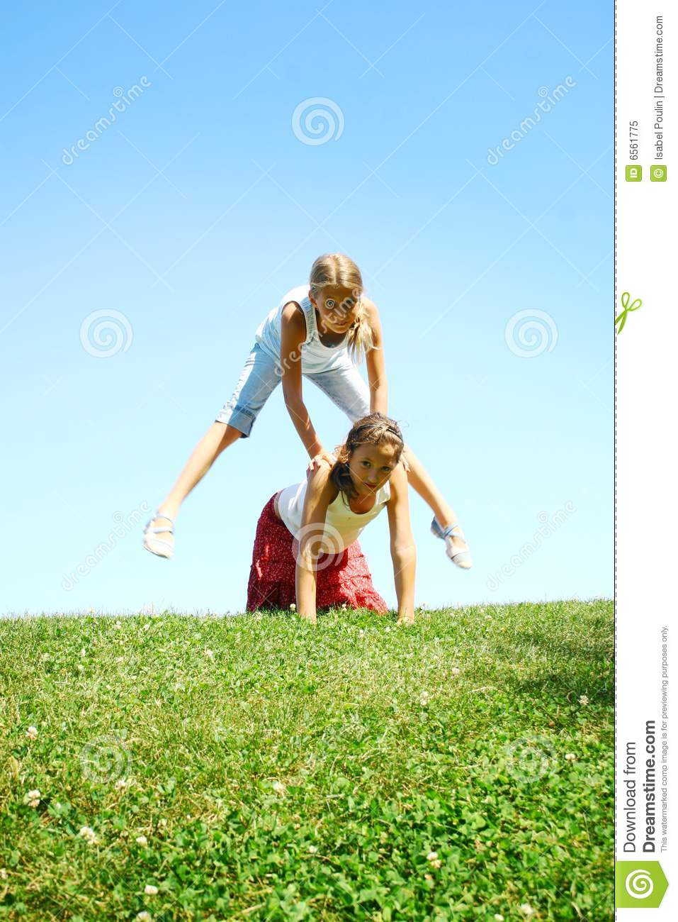 Children Playing Leapfrog Royalty Free Stock Photo - Image: 6561775