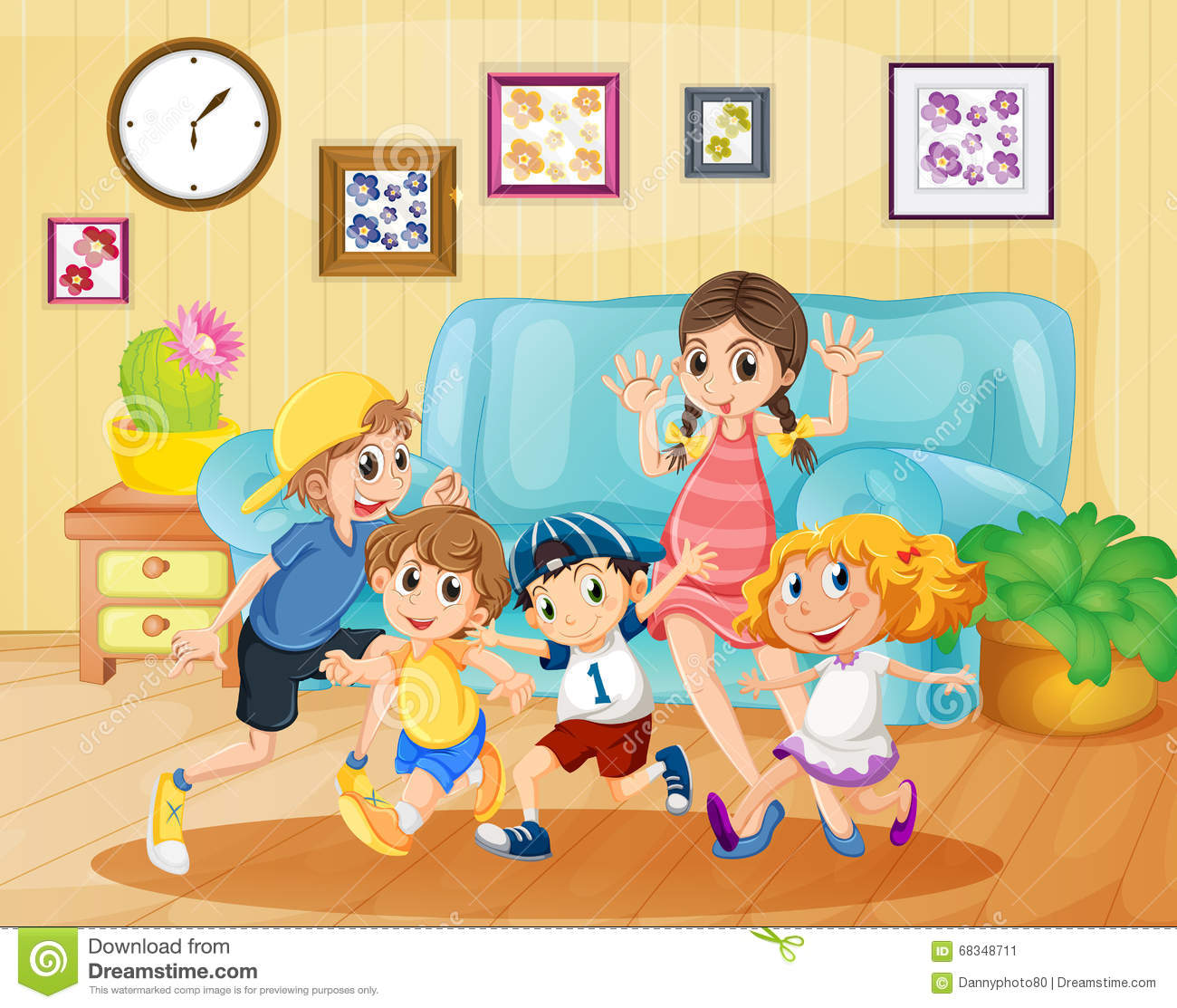 Living Room Clip Art: Children Playing In The Living Room Stock Vector
