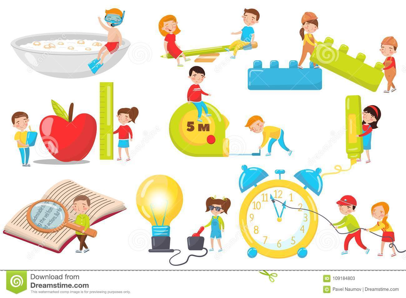 Kinder Garden: Children Playing, Measuring, Experimenting And Reading Set
