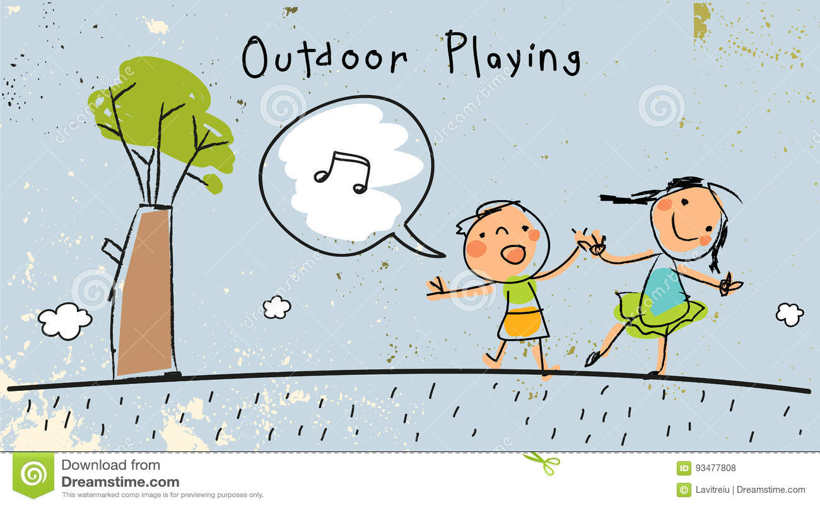 Children playing outdoors, singing.