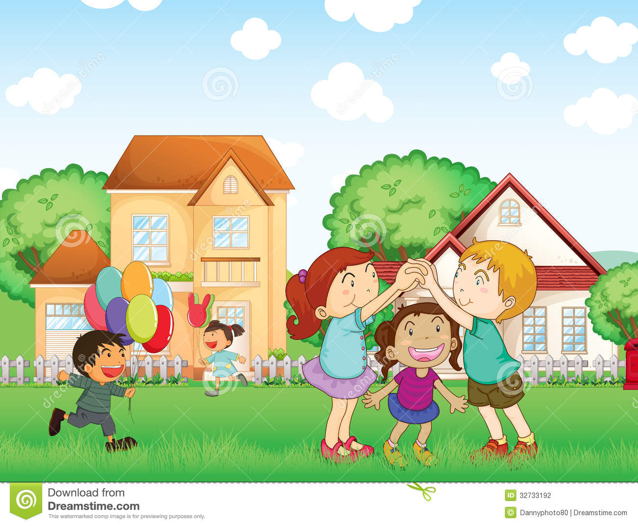 Children Playing Outside Stock Vector Illustration Of