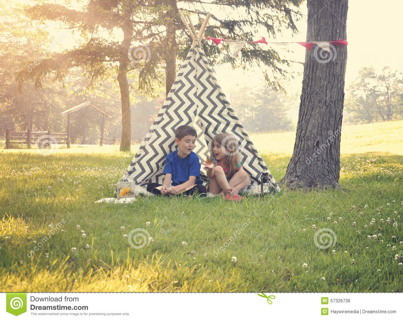 Children Playing Outside in Summer Tent