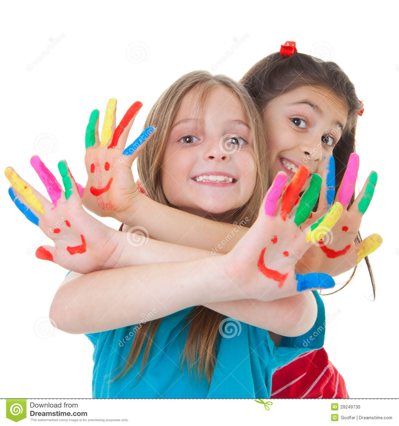 children playing with paint stock photo image 29249730