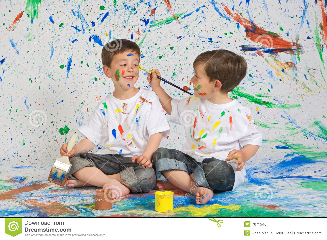 Children playing with painting royalty free stock image image 7071546 - Resource com verven ...