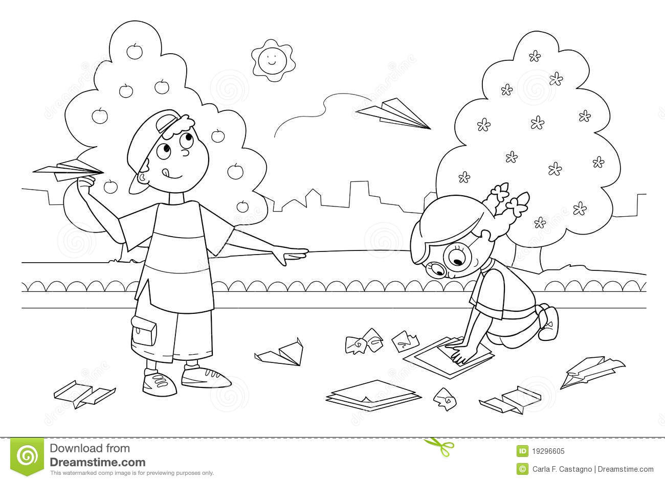 Children Playing With Paper Airplanes Stock Vector Image