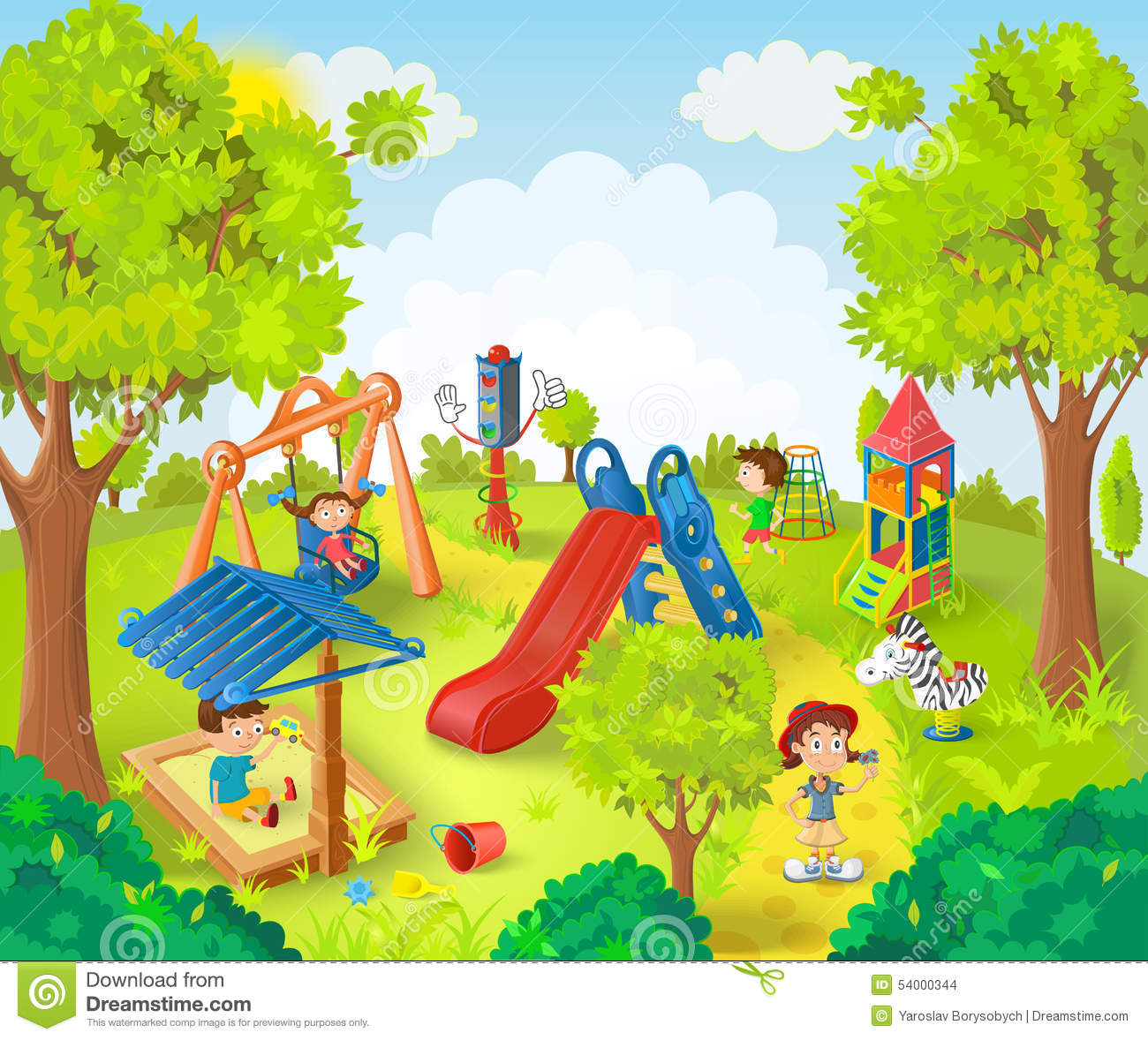 Children Playing In The Park Stock Illustration - Image: 54000344