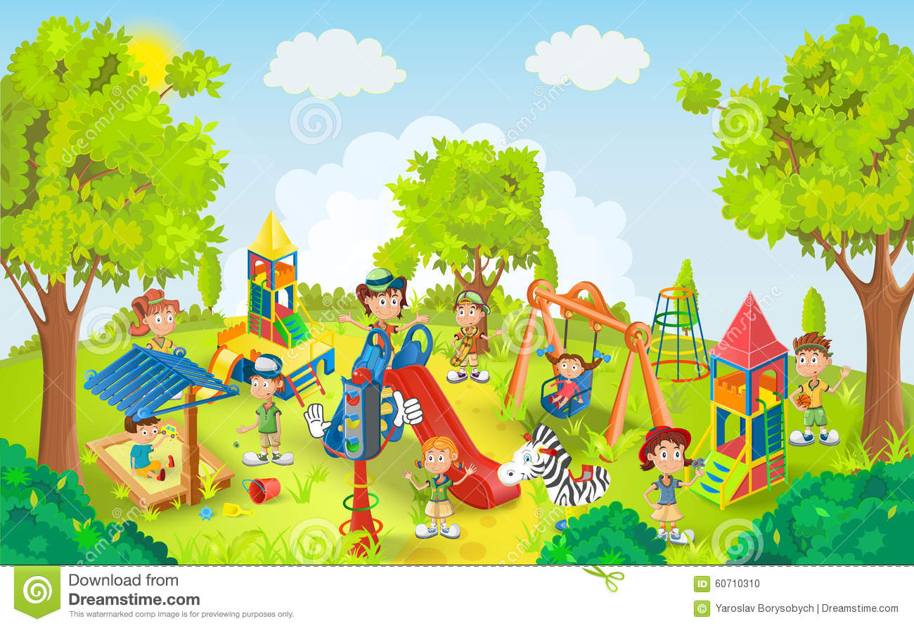 Children Playing In The Park Vector Stock Image 60710310