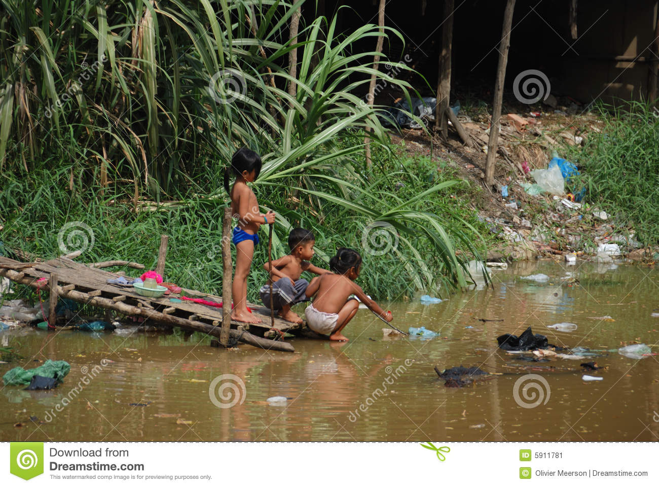 children playing with pollution