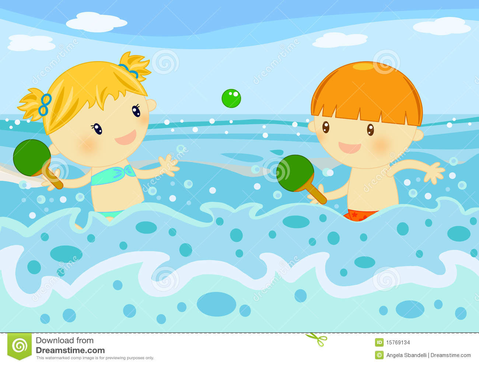children playing rackets in the sea stock illustration rh dreamstime com Beach Clip Art Ocean Animals Clip Art