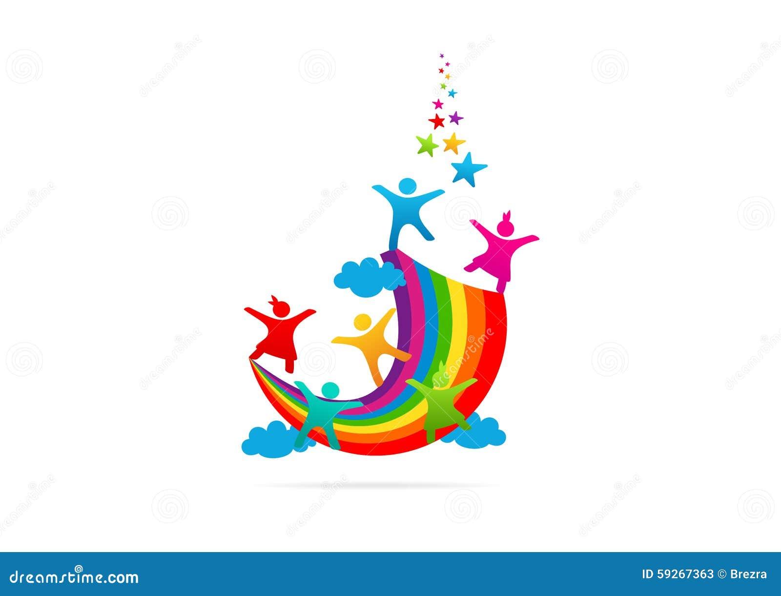 Children Playing On The Rainbow Imagination Vector Logo
