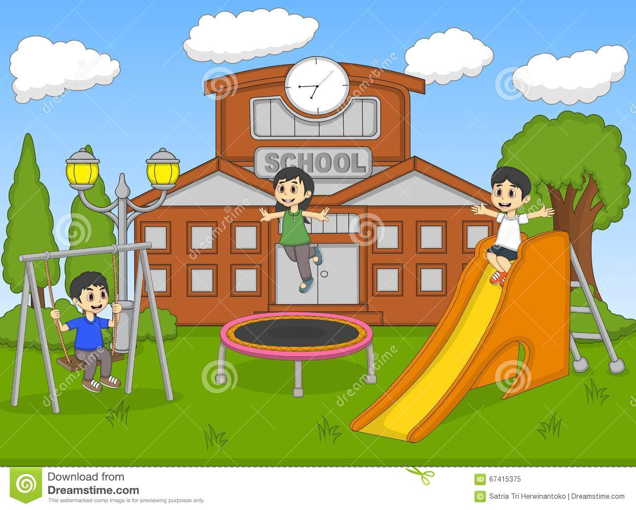 children playing at the school cartoon - Images Of Children Playing At School