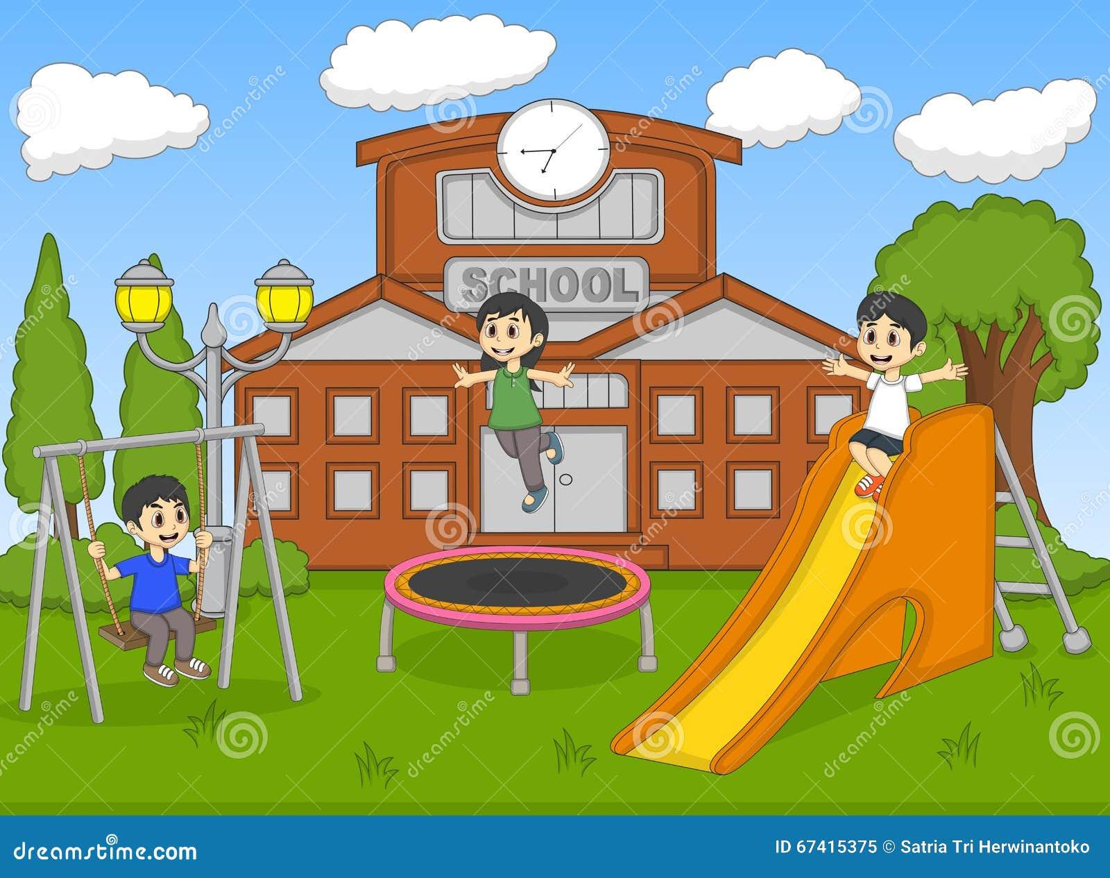 Children Playing Slide School Cartoon Stock Illustrations 263